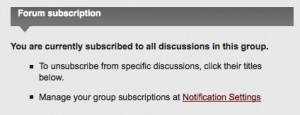 A panel on each group home page lets users know whether they'll automatically receive email notifications of new discussion activity in the group
