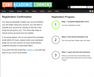 Registration Progress Page