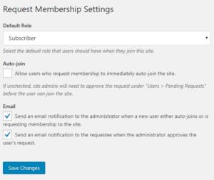 request membership settings screenshot
