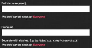 pronouns field screenshot