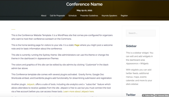 conference template screenshot